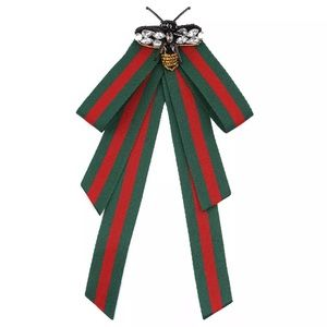 f1e5c2fb4ab Gucci Jewelry - GUCCI style bow brooch pin red green stripes